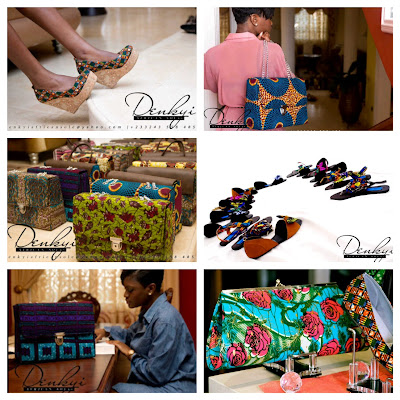Womens African Print shoes and bags - Denkyi