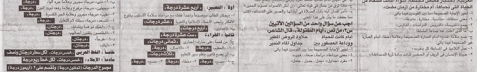 [لغة عربية] نشر اجابتة امتحان محافظة الجيزة للصف السادس اخر العام 2015 المختلف علية Www.modars1.com_z14
