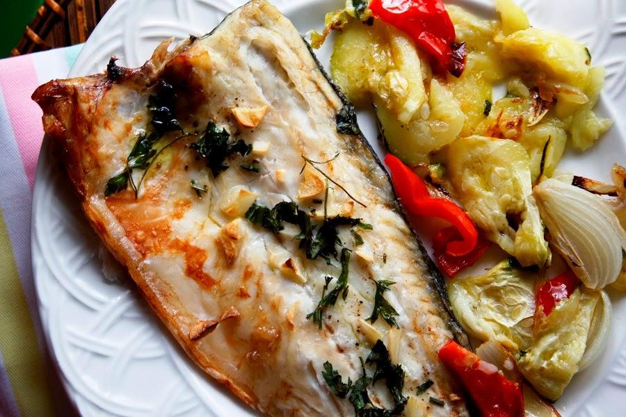Lubina al horno con verduras las maria cocinillas - Verduras rellenas al horno ...