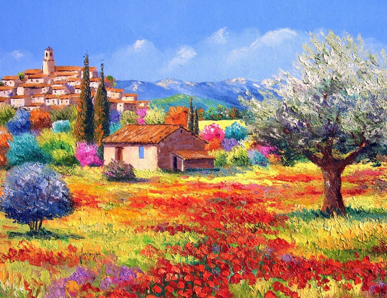 Cuadros modernos pinturas y dibujos cuadros de paisajes - Paisajes de casas ...