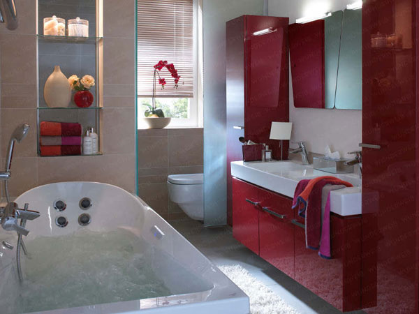 Decoracion Baño Color Vino:Red Small Bathroom Ideas