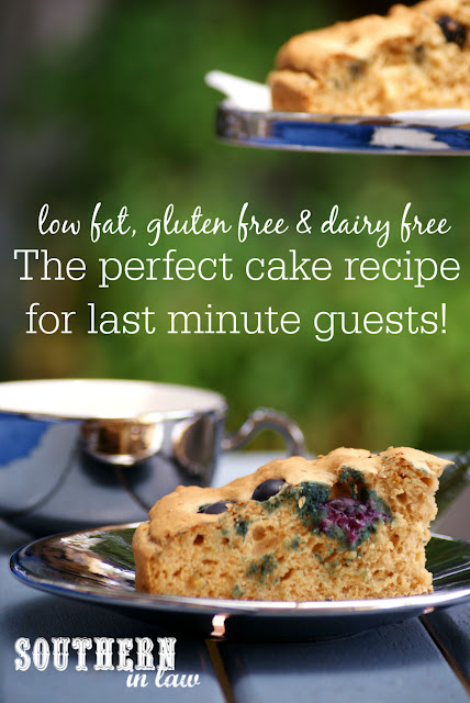 The Perfect Cake Recipe for Last Minute Guests - Healthy Blueberry Cake Recipe - Low fat, gluten free, dairy free, low sugar