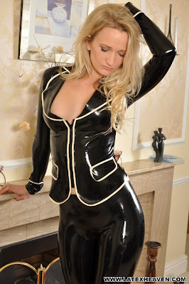 Smokin Hot Jade in Skin Tight Latex Suit Posing