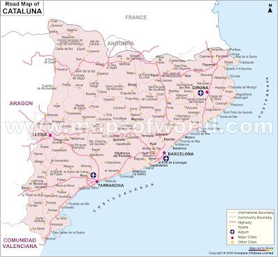 Catalonia Tourism Map Area