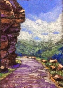 Soft pastel painting of road leading to Spiti Valley by Manju Panchal