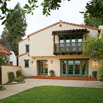 spanish colonial revival home, wood balcony, clay tile roof, stucco house, spanish eclectic house