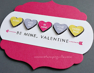 Valentine Card Stamped With Candy Conversations Stamp Set by Stampin' Up!
