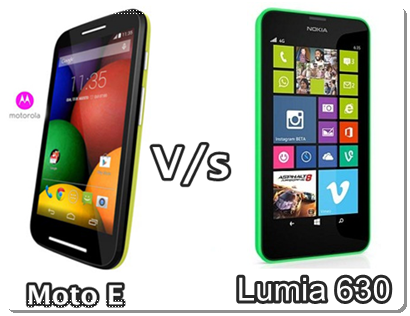 Compare Moto E with Nokia Lumia 630 Specifications and Price in India