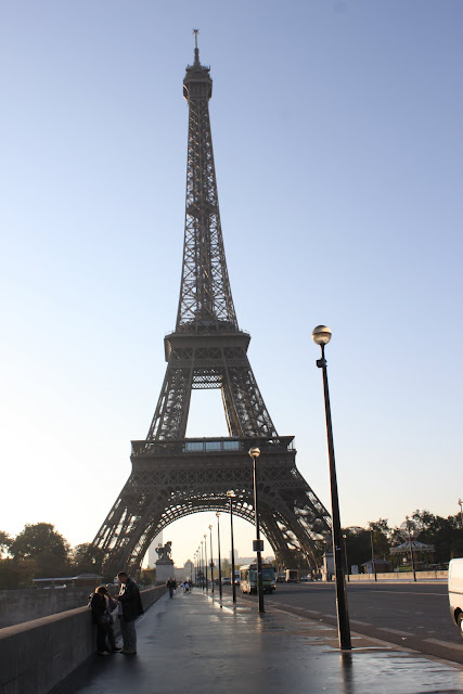 Eiffel Tower was taken early in the morning in Paris, France