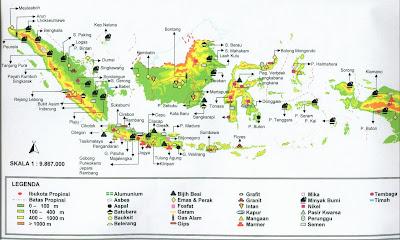 Peta persebaran hasil tambang di Indonesia