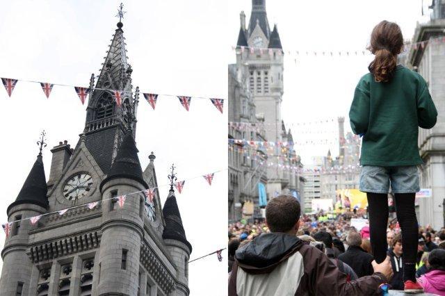Multitud en Union Street por la llegada de la antorcha olimpica, Juegos Olimpicos Londres  2012 London 2012