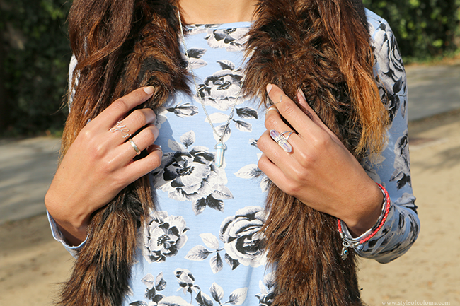 Blue florals and fur details featuring Vanilla Shimmer
