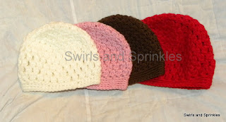 Swirls and Sprinkles: Easy crochet bobble hat.  Sizes newborn, baby, child, adult