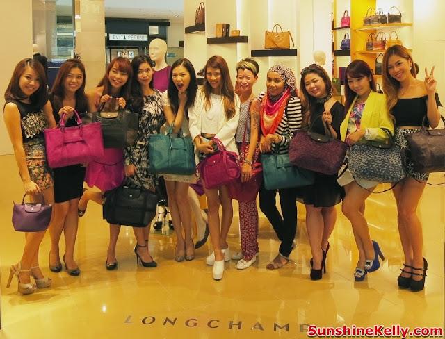 longchamp pavilion KL, new exclusive store, luxury handbag, famous fashion blogger, cheeserland, princess nana, nana bwincess, choo mei sze, sunshine kelly, isabell kuan, kinky blue fairy, ami schaheera