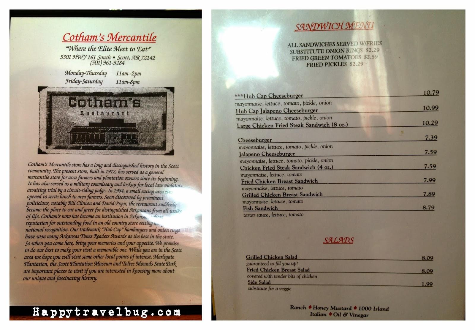 Cotham's Mercantile menu
