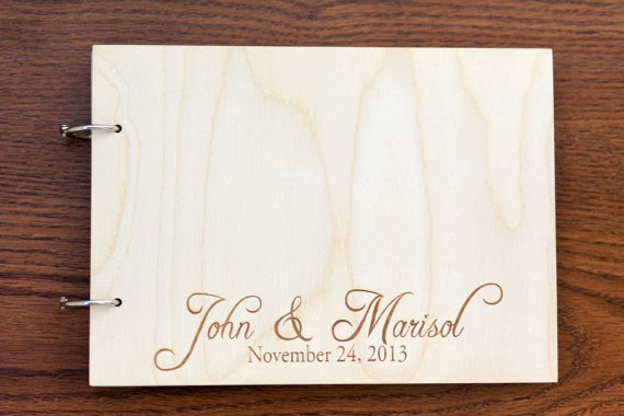 wooden script names wedding guest book rustic barn