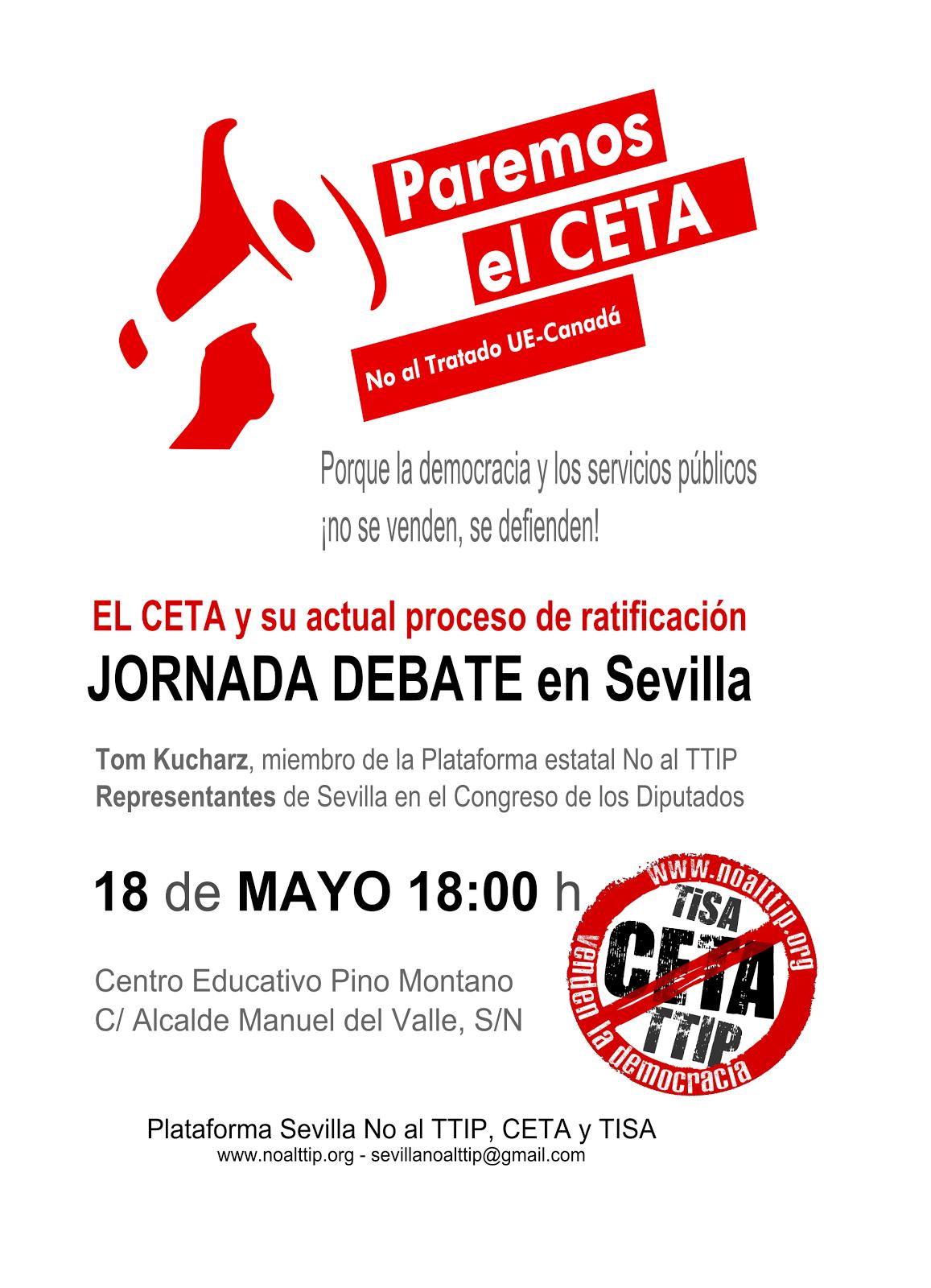Jueves 18,18H. JORNADA DEBATE: El CETA y su actual proceso de ratificación en el Congreso español.