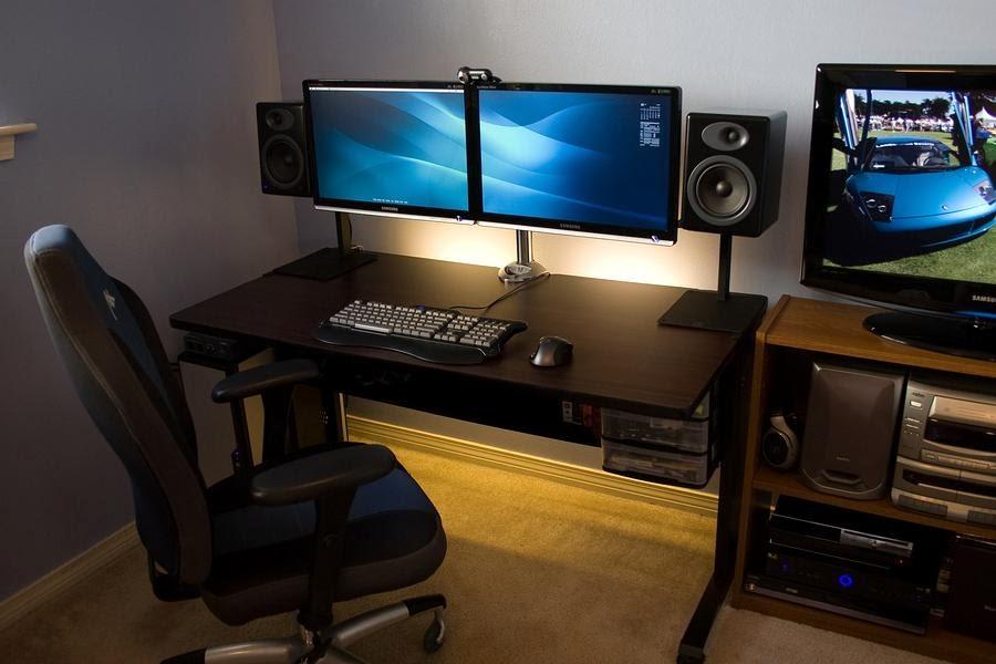 DIY PC Desk Mods: Neat Dual Dell Monitor PC Desk Setup