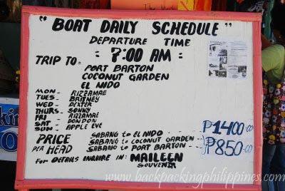 sabang to el nido boat palawan