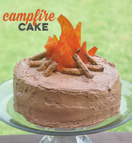 Easy campfire cake for boy scouts or camping party.