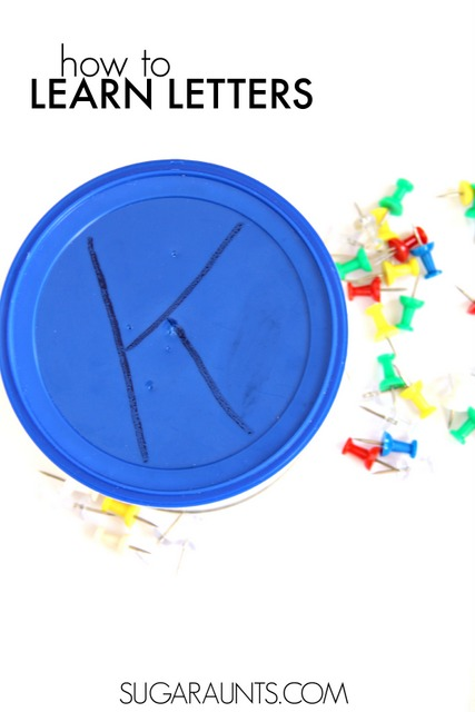 Teach kids how to make letters and the correct letter formation in handwriting using a recycled can and push pins.  You can make letters over and over again using a dry erase pen!