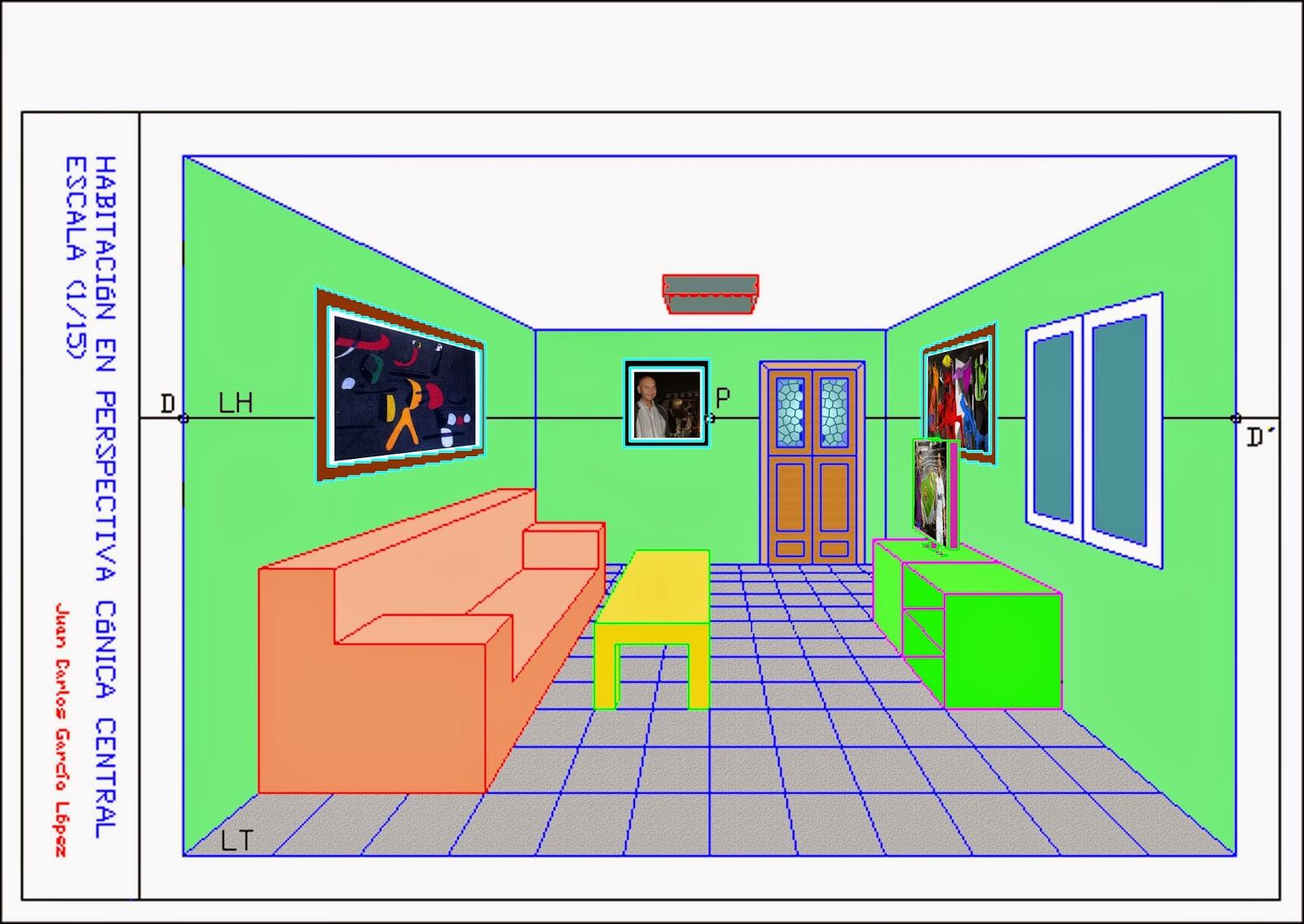 Dibuja garlo perspectiva c nica central de una habitaci n for Habitacion 3d autocad
