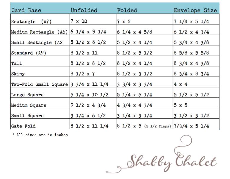 Shabby Chalet Studio 17 Card Envelope Size Chart