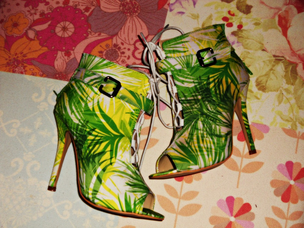 boohoo lace up multi print booties tropical print