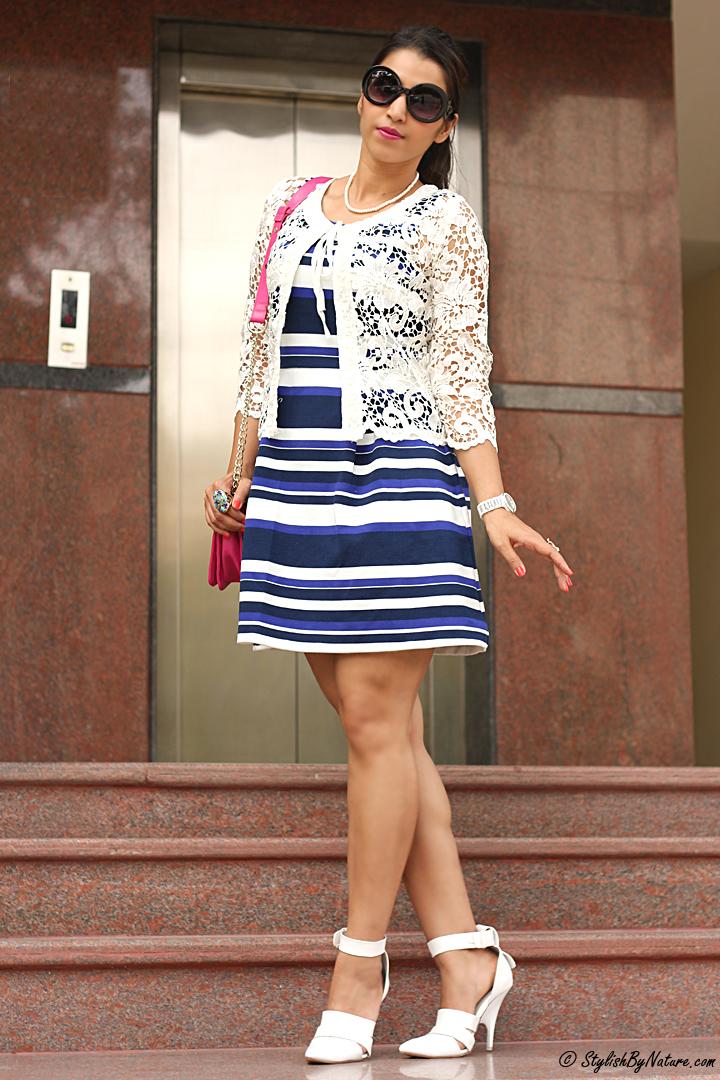 Striped Dress, Lace JAcket