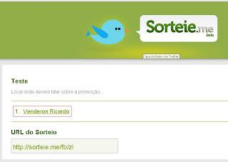Ganhador da Promoção no site Sorteie.me
