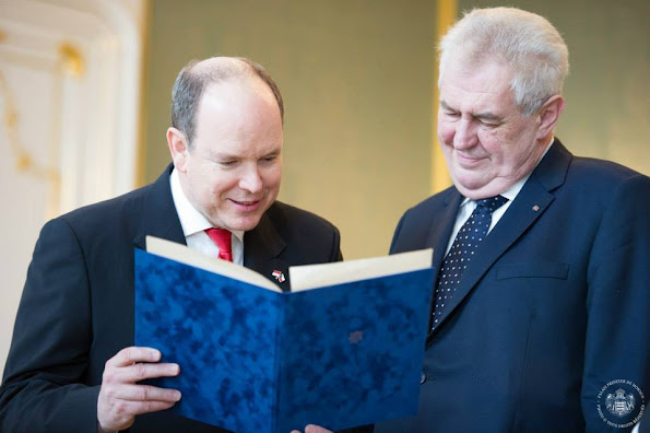Prince Albert II of Monaco attended a press conference with Czech President Milos Zeman at Prague Castle