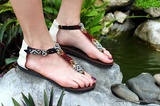 Womens t strap sandals in Kachin textiles