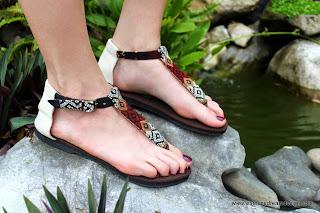 Womens t strap sandals in Kachin textiles