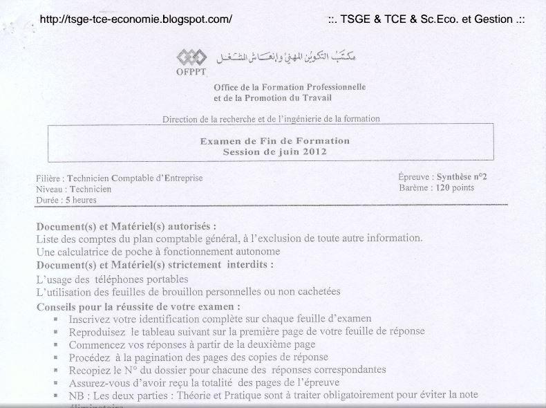Examen De Fin De Formation 2012 Synthèse 2 TCE A3