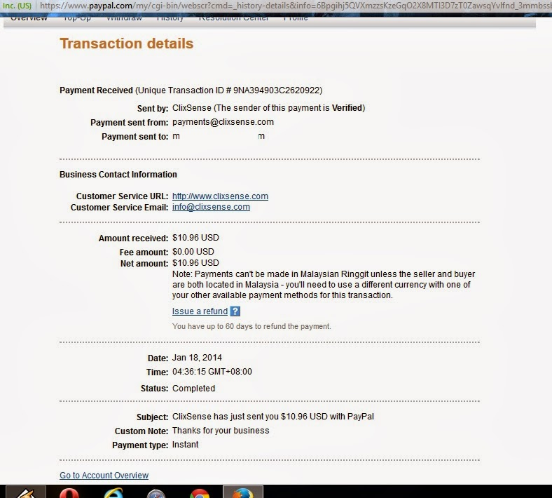 clixsense payment proof screenshot