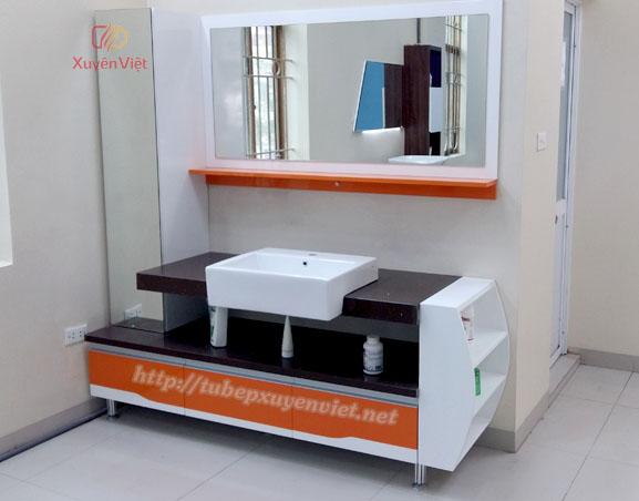 Tủ lavabo nhựa sơn men bóng và đá nhân tạo