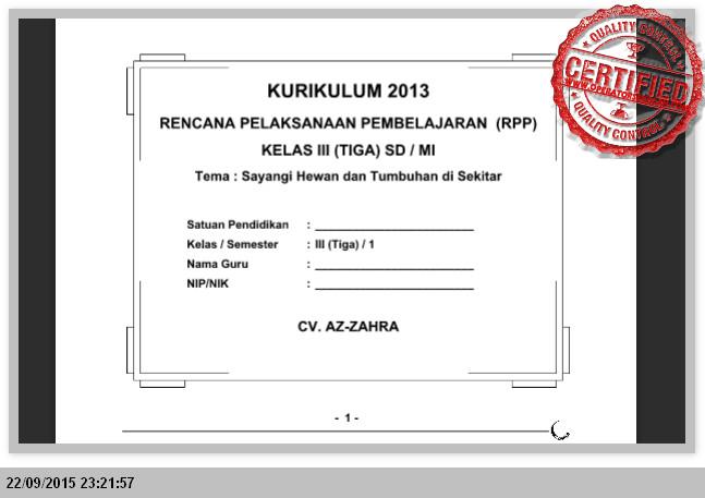 PERANGKAT PEMBELAJARAN KURIKULUM 2013 KELAS 3 SD SEMSTER 1 dan 2 LENGKAP
