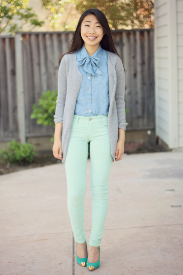 mint skinny jeans and teal shoes