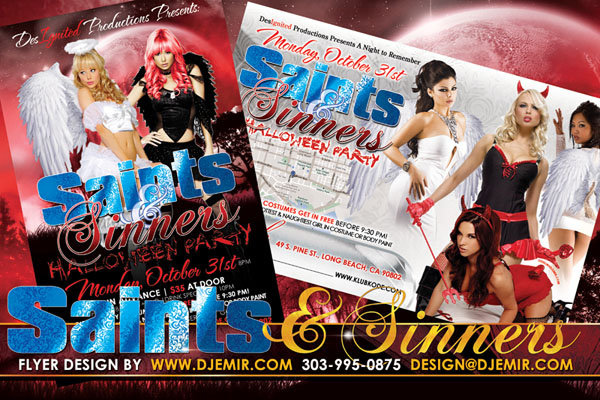 Saints And Sinners Halloween Party Flyer Design
