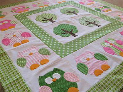 Preppy pink and green owl quilt