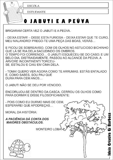 Atividade Texto Interpretação Fábula de Monteiro Lobato O Jabuti e a Peúva