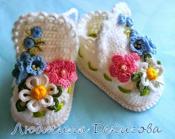 Escarpines / patucos crochet decorados