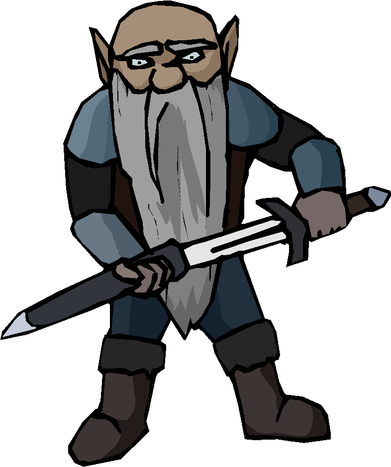 Old Man with Sword Free Clipart