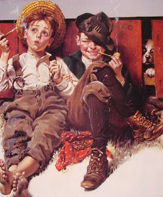 Boys Smoking, Norman Rockwell, Rapazes a Fumar
