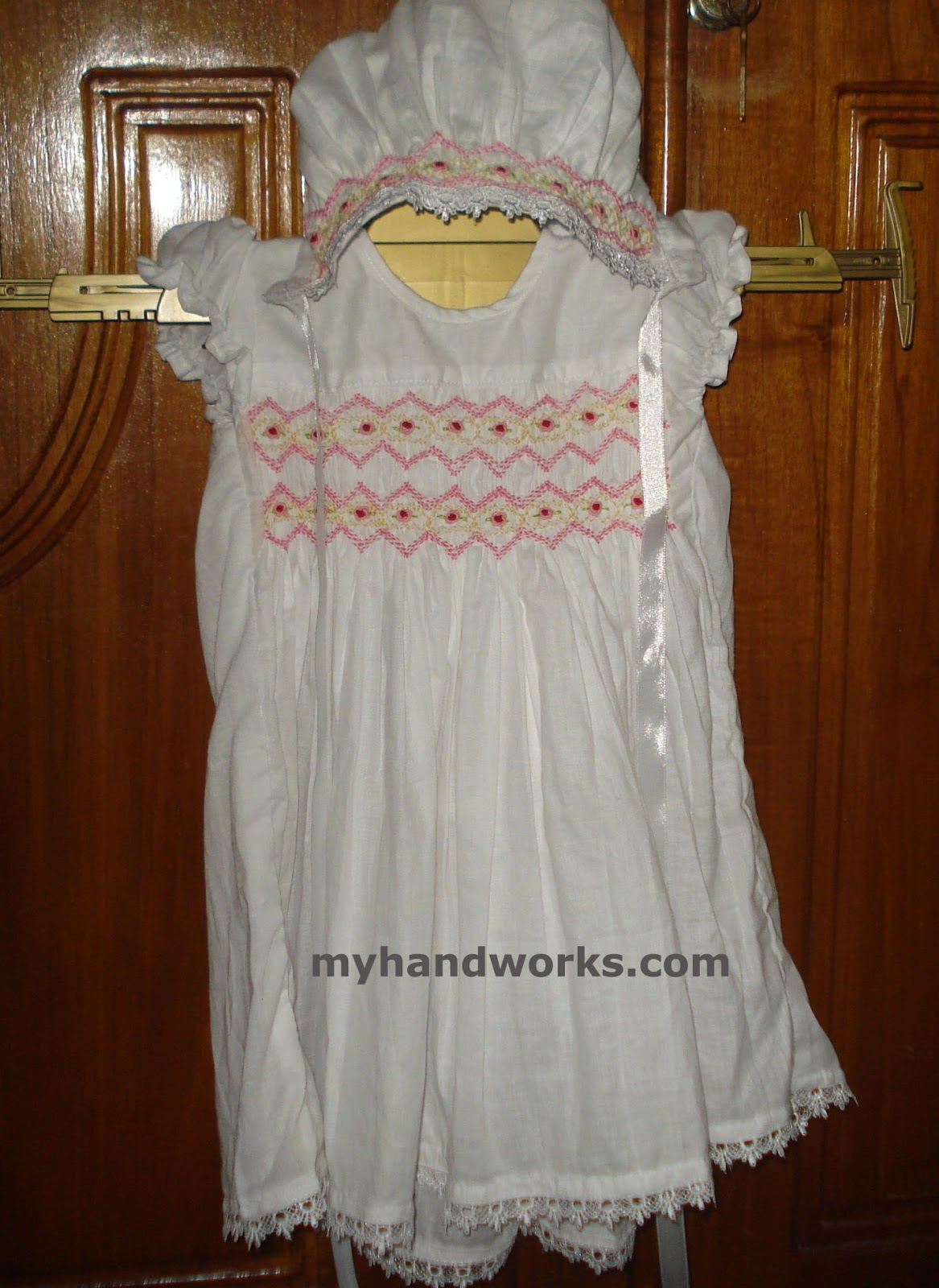 Brazilian embroidery by athiya fassey smocked baby frock
