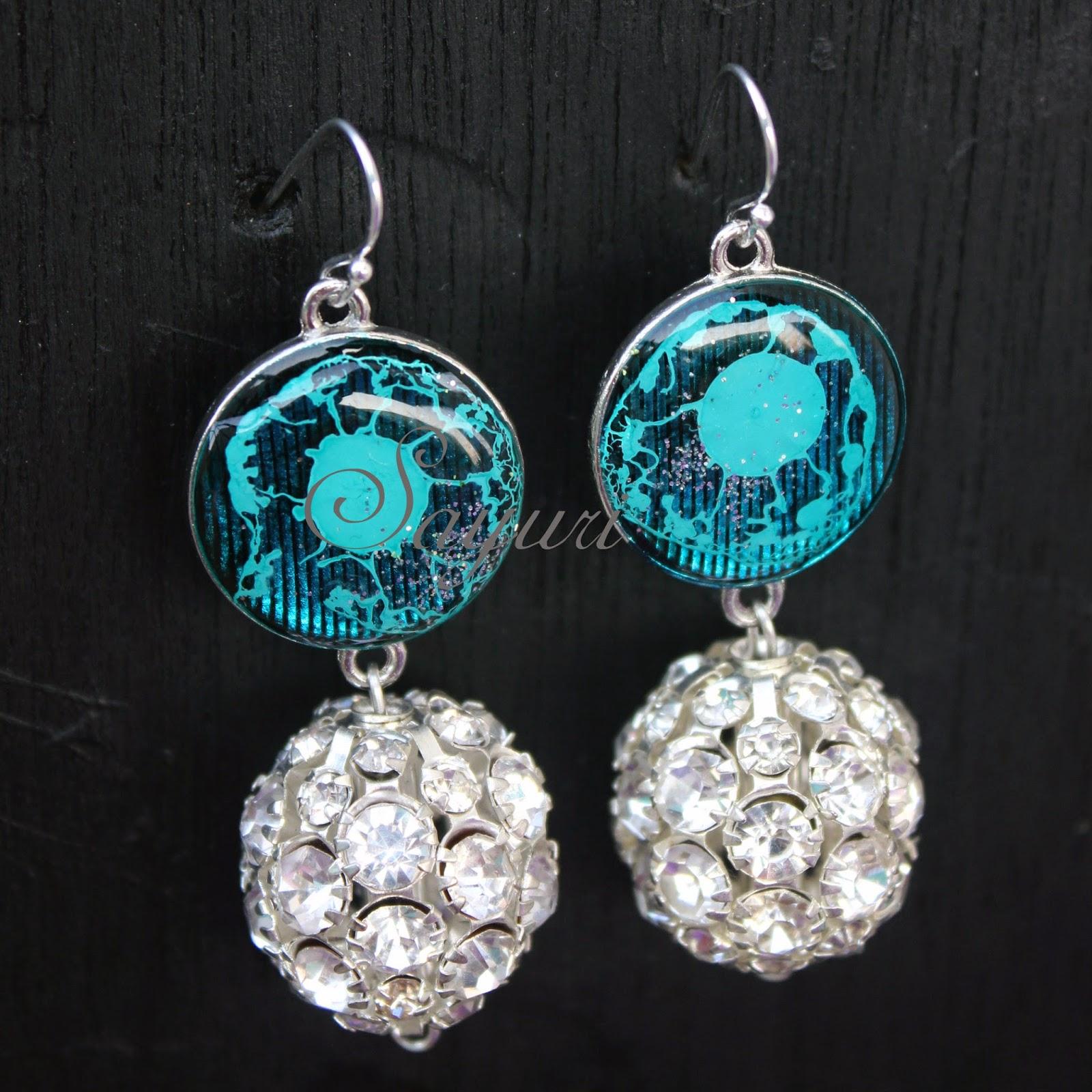 resin rhinestone earrings