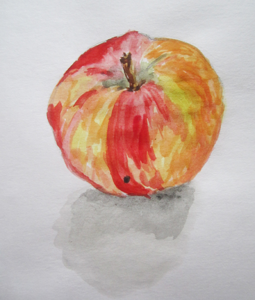 яблоко акварельными красками