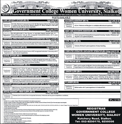 Admin & Accounts Jobs in Government College Women University Sialkot