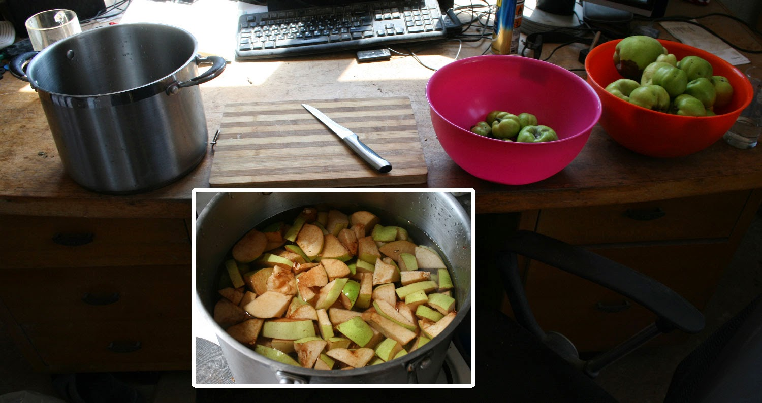 Chopping 3.5kg of Quince