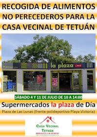Recogida de alimentos no perecederos para la Casa Vecinal de Tetuán
